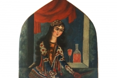 A 19th Century Qajar lady oil paint 85 cm x 80 cm